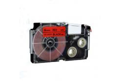 Taśma zamiennik Casio XR-6RD1, 6mm x 8m czarny druk / czerwony podkład