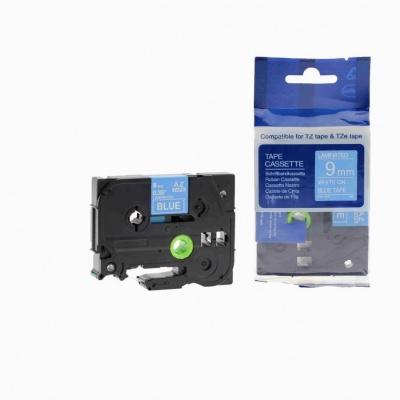 Taśma zamiennik Brother TZ-525 / TZe-525, 9mm x 8m, biały druk / niebieski podkład