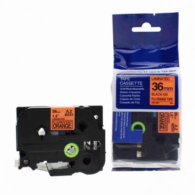 Taśma zamiennik Brother TZ-B61 / TZe-B61, signální 36mm x 8m, czarny druk / pomarańczowy podkład