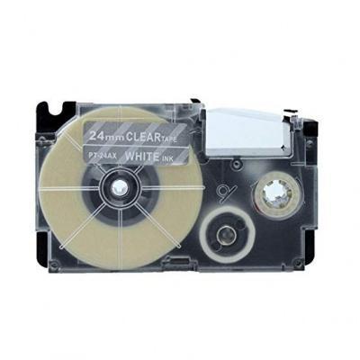 Taśma zamiennik Casio XR-24AX 24mm x 8m biały druk / przezroczysty podkład