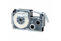 Taśma zamiennik Casio XR-12AX 12mm x 8m czarny druk / przezroczysty podkład