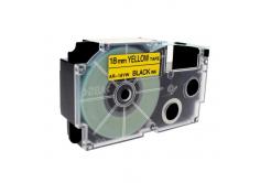 Taśma zamiennik Casio XR-18YW1, 18mm x 8m czarny druk / żółty podkład