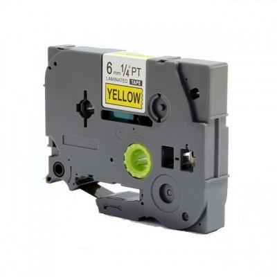 Taśma zamiennik Brother TZ-S611 / TZe-S611, 6mm x 8m,mocno klejący, czarny druk / żółty podkład
