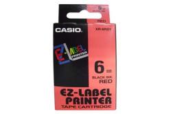Casio XR-6RD1, 6mm x 8m, czarny druk / czerwony podkład, taśma oryginalna