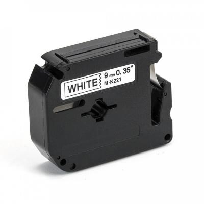 Taśma zamiennik Brother MK-221, 9mm x 8m, czarny druk / biały podkład