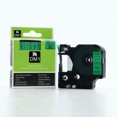 Dymo D1 45019, S0720590, 12mm x 7m czarny druk / zielony podkład, taśma oryginalna