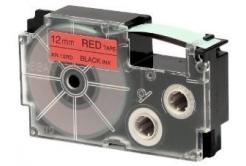 Casio XR-12RD1, 12mm x 8m, czarny druk / czerwony podkład, taśma oryginalna