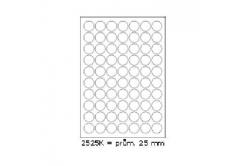 Samoprzylepne etykiety 25 x 25 mm, 70 etykiet, A4, 100 arkuszy