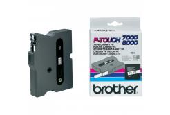 Brother TX-211, 6mm x 15m, czarny druk / biały podkład, taśma oryginalna