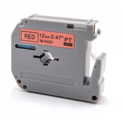 Brother MK-431, 12mm x 8m, czarny druk / czerwony podkład, taśma zamiennik