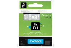 Dymo D1 45020, S0720600, 12mm x 7m biały druk / przezroczysty podkład, taśma oryginalna