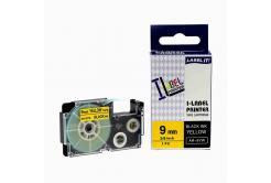 Taśma zamiennik Casio XR-9YW1, 9mm x 8m czarny druk / żółty podkład