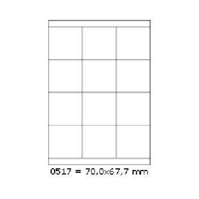 Samoprzylepne etykiety 70 x 67,7 mm, 12 etykiet, A4, 100 arkuszy