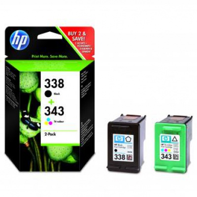 HP tusz oryginalna SD449EE, HP 338 + HP 343, black/color, 480/330 stron, 2 szt., HP 2-Pack, C8765EE + C8766EE