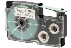 Casio XR-9X1, 9mm x 8m, czarny druk / przezroczysty podkład, taśma oryginalna