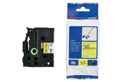 Brother TZ-FX661 / TZe-FX661, 36mm x 8m, flexi, czarny druk / żółty podkład, taśma oryginalna