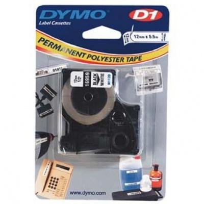 Dymo D1 16959, S0718060, 12mm x 5.5m, czarny druk / biały podkład, taśma oryginalna