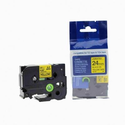 Taśma zamiennik Brother TZ-651 / TZe-651, 24mm x 8m, czarny druk / żółty podkład