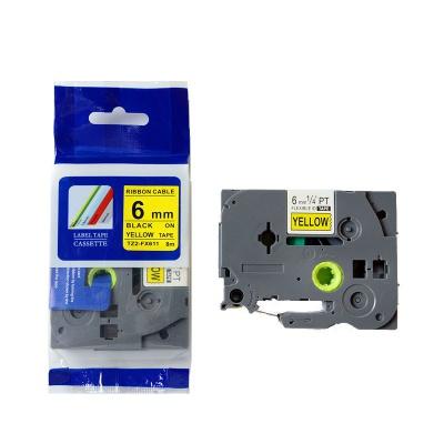 Taśma zamiennik Brother TZ-FX611 / TZe-FX611, 6mm x 8m, flexi, czarny druk / żółty podkład