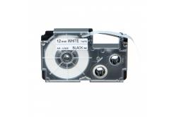 Taśma zamiennik Casio R7WE 12mm x 2,5m termokurczliwa, czarny druk / biały podkład