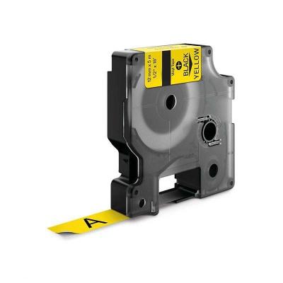 Taśma zamiennik Dymo 18432, 12mm x 5, 5m czarny druk / żółty podkład, vinyl
