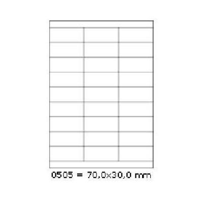Samoprzylepne etykiety 70 x 30 mm, 27 etykiet, A4, 100 arkuszy