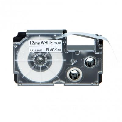 Taśma zamiennik Casio XR-12WE1, 12mm x 8m czarny druk / biały podkład