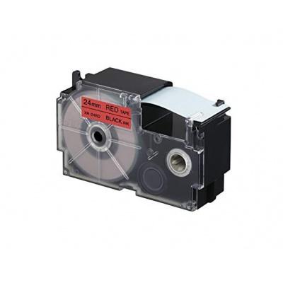Taśma zamiennik Casio XR-24RD1, 24mm x 8m, czarny druk / czerwony podkład