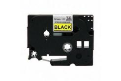 Brother TZ-S661 / TZe-S661, 36mm x 8m, extr.adh., czarny druk / żółty podkład, taśma zamiennik