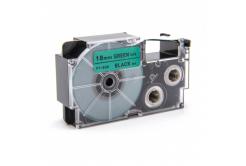 Taśma zamiennik Casio XR-18GN1, 18mm x 8m czarny druk / zielony podkład