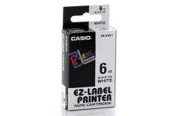 Casio XR-6WE1, 6mm x 8m, czarny druk / biały podkład, taśma oryginalna