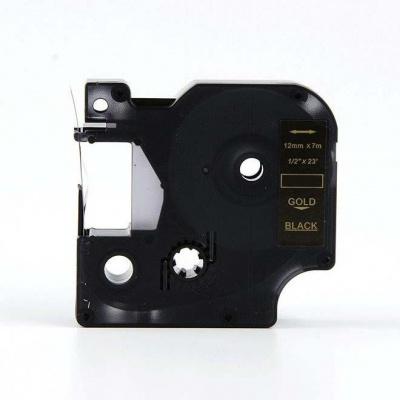 Taśma zamiennik Dymo 40924, 9mm x 7m, złoty druk / biały podkład