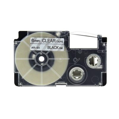 Taśma zamiennik Casio XR-6X1, 6mm x 8m czarny druk / przezroczysty podkład