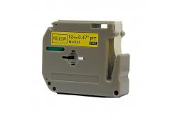 Taśma zamiennik Brother MK-631, 12mm x 8m, czarny druk / żółty podkład
