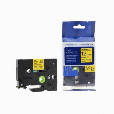 Taśma zamiennik Brother TZ-FX631 / TZe-FX631 12mm x 8m, flexi, czarny druk / żółty podkład