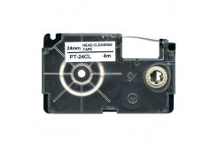 Casio XR-24CL, 24mm x 4m, czarny druk / biały podkład, czyszczenie, taśma zamiennik