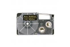 Taśma zamiennik Casio XR-9BKG 9mm x 8m złoty druk / biały podkład