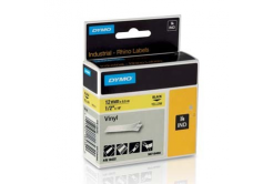 Dymo Rhino 18432, S0718450, 12mm x 5,5m czarny druk / żółty podkład, taśma oryginalna