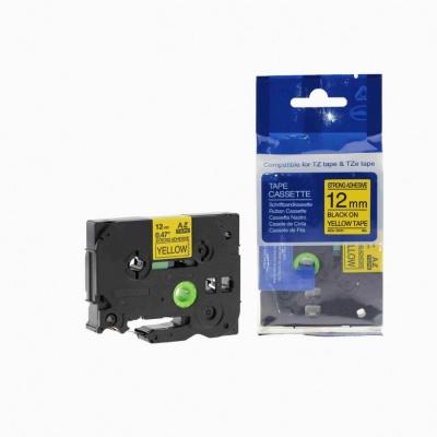 Taśma zamiennik Brother TZ-S631 / TZe-S631 12mm x 8m mocno klejący, czarny druk / żółty podkład