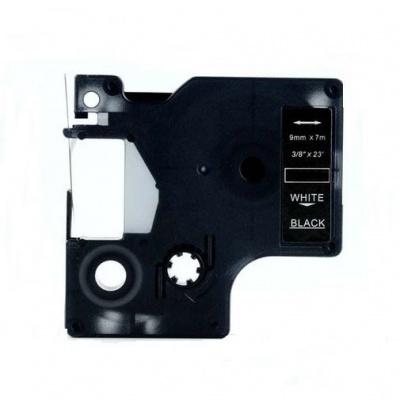 Taśma zamiennik Dymo 40921, 9mm x 7m, biały druk / czarny podkład