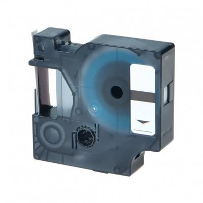 Taśma zamiennik Dymo 43617, 6mm x 7m czarny druk / czerwony podkład