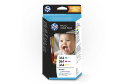 HP Photo Value T9D88EE, papier fotograficzny, biały, HP 364, 10x15cm